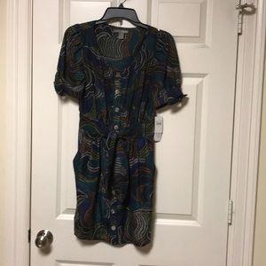 Hype Printed Silk Shirt Dress In Jade Size 4
